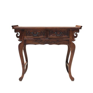 Chinese Oriental Brown Ru Yi Drawers Altar Foyer Side Table For Sale