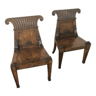 19th Century English Regency Burl Elmwood Hall Chairs - a Pair For Sale