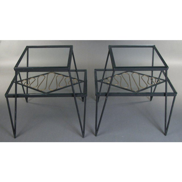 Vintage Pair of Iron and Gilt Ribbon Tables For Sale - Image 4 of 8