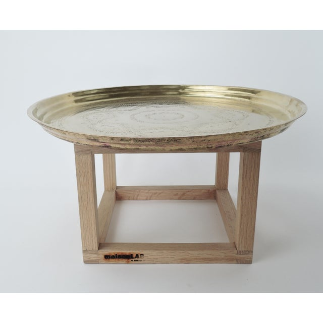African Modern Brass and Copper Tea Accent Table For Sale - Image 3 of 8