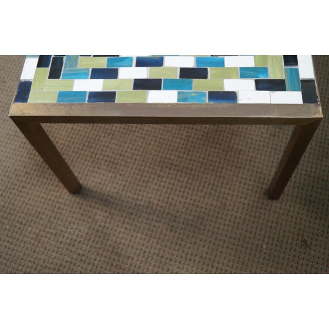 Mid Century Brass Coffee Table with Tile Top - Image 8 of 10