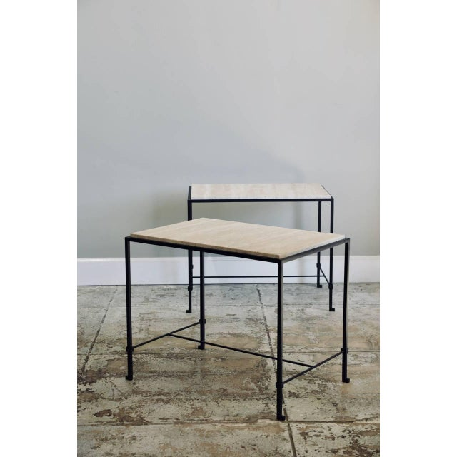 """Contemporary Design Frères """"Diagramme"""" Wrought Iron and Travertine Side Tables - a Pair For Sale - Image 11 of 11"""