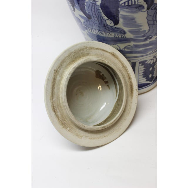 Ceramic Large Chinese Blue and White Covered Jar For Sale - Image 7 of 12
