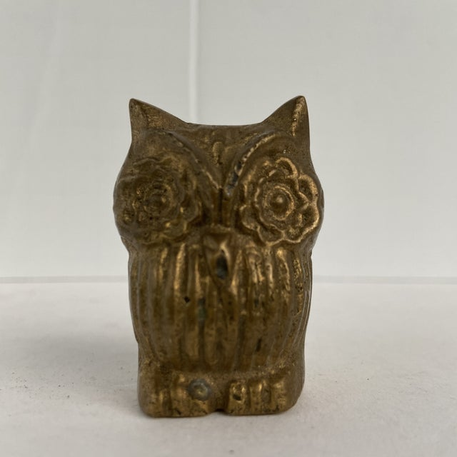Vintage Mid 20th Century Tiny Brass Owl For Sale - Image 12 of 12