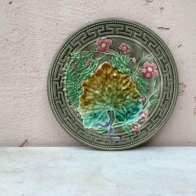 Ceramic 19th Majolica Leaves and Pink Flowers Plate Choisy Le Roi For Sale - Image 7 of 7