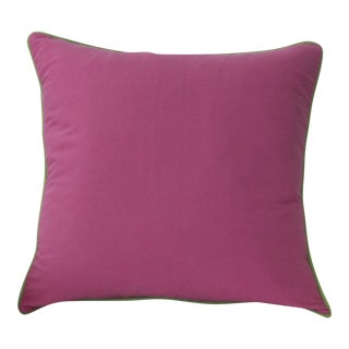 Pink Pillow With Green Contrasting Welt