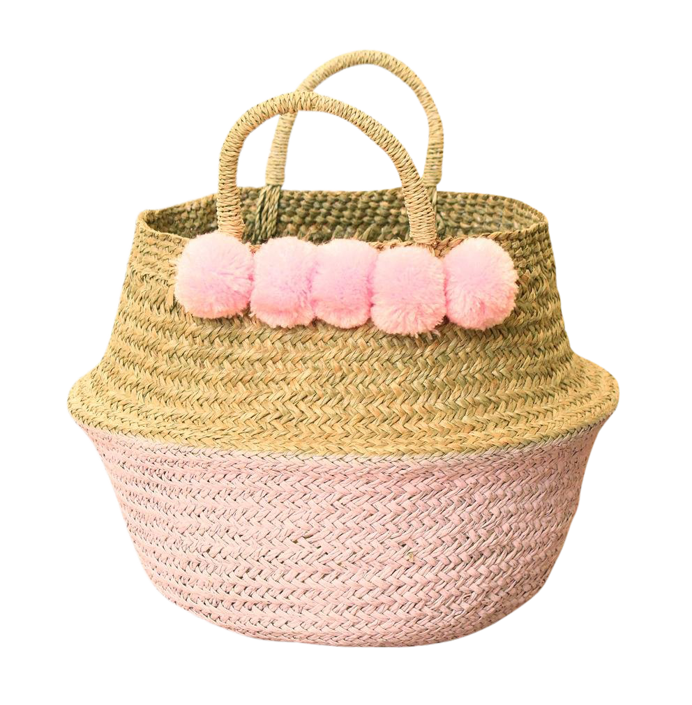 Brunna Pink Belly Straw Basket Bag   Painted Storage Basket, Nursery Basket