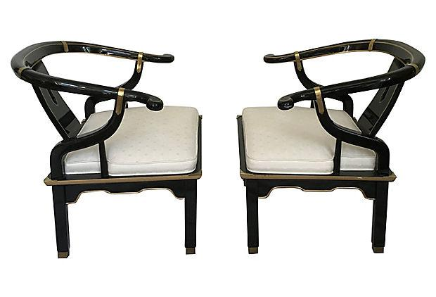 James Mont James Mont Ming Style Asian Club Chairs   A Pair For Sale   Image