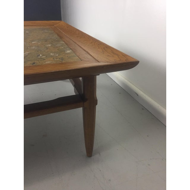 "Stone Tomlinson Marble and Pecan Mid-Century ""Sophisticate"" Coffee Table For Sale - Image 7 of 10"