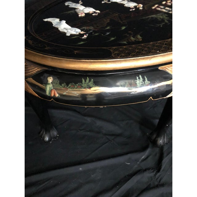Chinese Black Ebony Lacquer Wood and Mother of Pearl Coffee Table For Sale In Portland, ME - Image 6 of 13