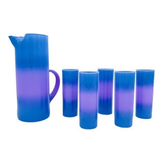 1970s West Virginia Glass Aqua & Lavender Frosted Glass Set - 6 Pieces For Sale
