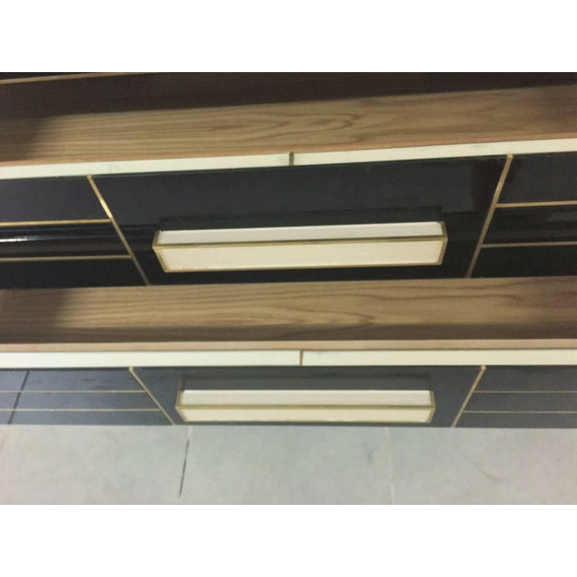 Brass Chest of Drawers in Black Mirror With Ivory Glass Handle For Sale - Image 7 of 9