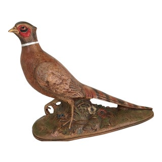 Mid Century Hand Painted Molded Ring Neck Pheasant Figure For Sale
