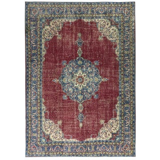 Distressed Antique Turkish Medallion Carpet in Navy and Raspberry | 8 X 11'5 For Sale