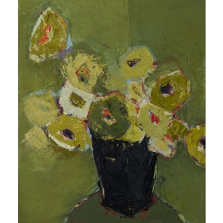 """Bill Tansey """"Green Linen"""" Abstarct Floral Oil Painting on Canvas For Sale"""