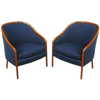 Pair of Ward Bennett Walnut and Wool Lounge Chairs For Sale