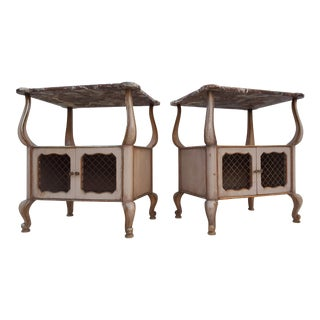 French Provincial Marble Top Sculptural End Tables / Nightstands - A Pair For Sale