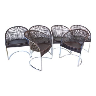 Vintage Mateograssi Dining Chairs in Leather & Chrome - Set of 6 For Sale