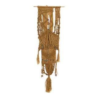 Macrame Beaded Leather & Driftwood Wall Art, circa 1970 For Sale