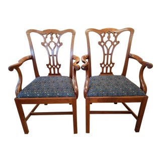 Antique Carved Chippendale Armchairs - a Pair