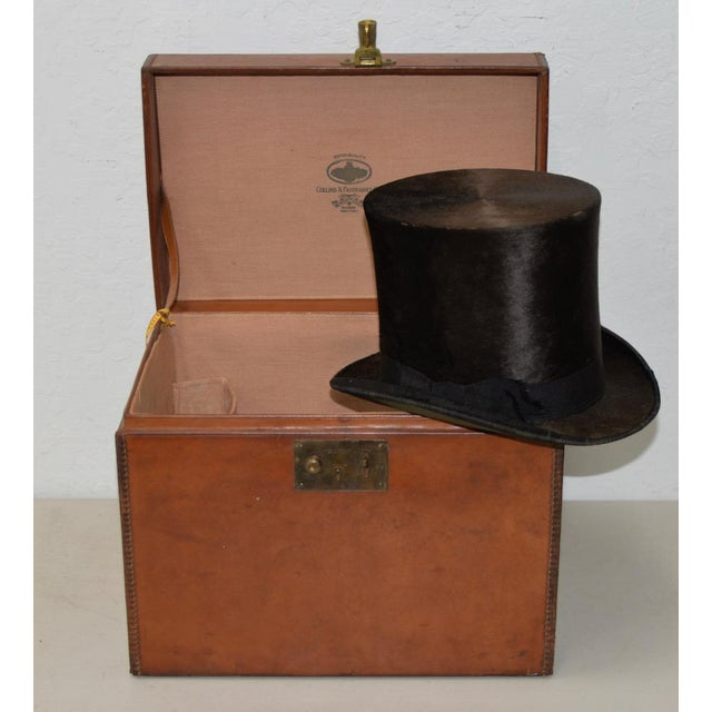 1800s Dunlap & Co. Top Hat & Leather Hat Box by Collins & Fairbanks Co. For Sale - Image 10 of 10