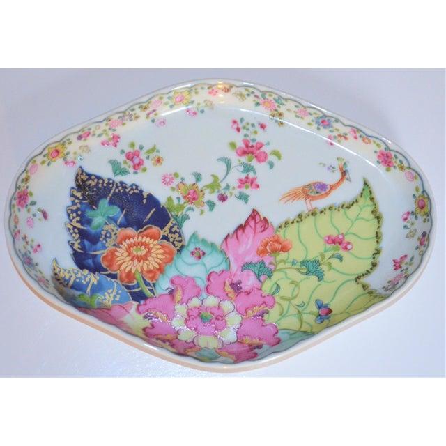 Ceramic Vintage Mottahedeh Tobacco Leaf Porcelain Oval Tray For Sale - Image 7 of 8