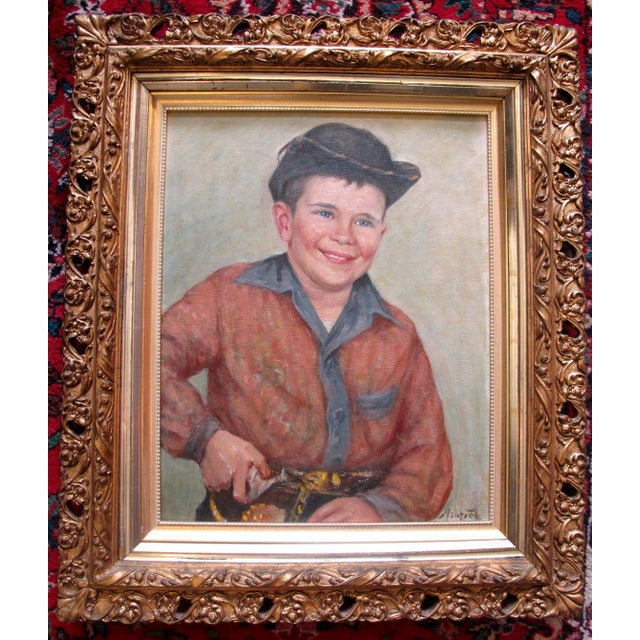 Early 20th Century Frank Ashford Signed Oil Painting, Portrait of Young Man in Cowboy Outfit For Sale In Portland, OR - Image 6 of 6