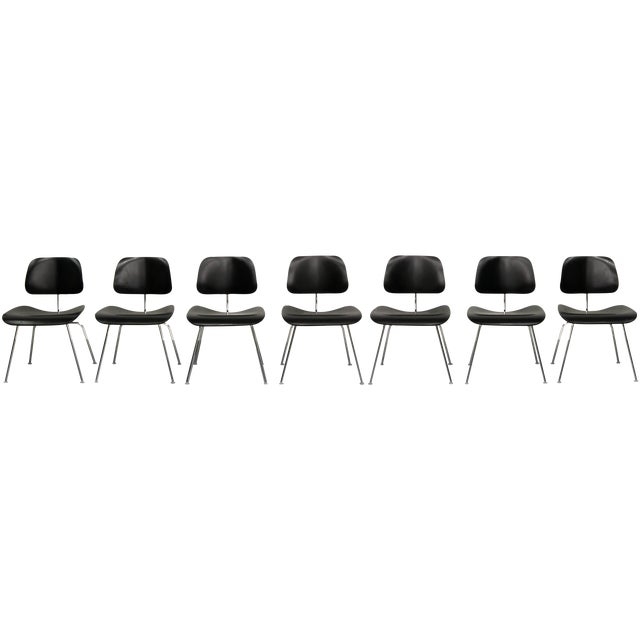 Black Set of 7 Authentic Eames Herman Miller Dcm Black Ebony Mid Century Dining Chairs For Sale - Image 8 of 8