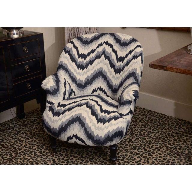 Gray Chevron Napoleon-Style Chair - Image 2 of 8