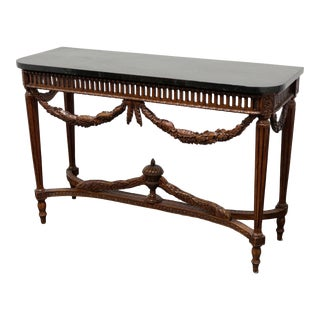 Maitland Smith Italian Neoclassical Tessellated Marble Console Table For Sale