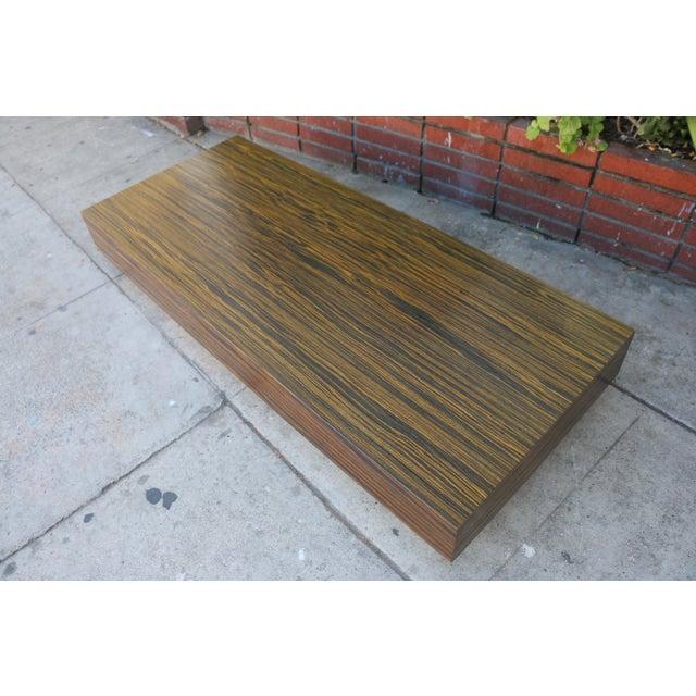 Modern Custom Made Zebra Wood Coffee Table For Sale - Image 3 of 8