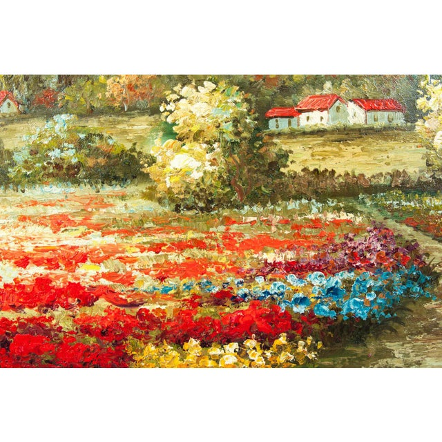 Mid-20th Century Floral Field Wood Framed Oil Painting For Sale - Image 4 of 13