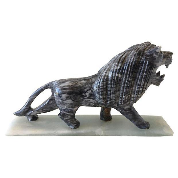 1970's Marble Carved Lion For Sale