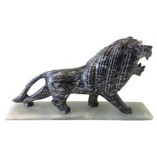 Final Markdown -1970's Marble Carved Lion For Sale