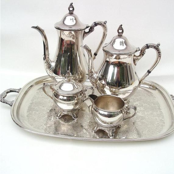 Tea Coffee Set 6 Pc Silver Plate Tea Service - Image 2 of 6