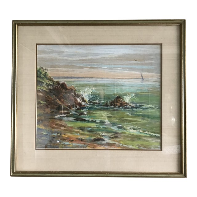 Vintage Mid-Century Colorful Pastel Seascape Drawing For Sale
