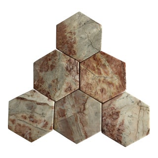 Hexagonal Pink Marble Coasters Set of 6 For Sale