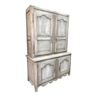 Tall Antique French Distress White-Gray Painted Double Buffet For Sale