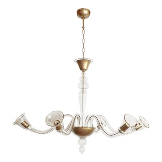 Large Clear and Gold Murano Glass, Mid-Century Modern Chandelier by Cenedese For Sale