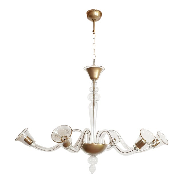 Large Mid Century Modern Clear And Gold Murano Glass Chandelier By Cenedese