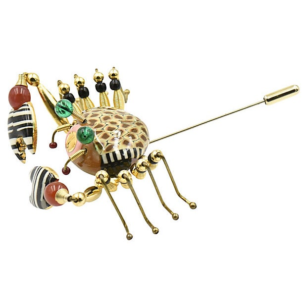 Modern Crab Crawler Brooch by Jewelry 10 For Sale - Image 3 of 7