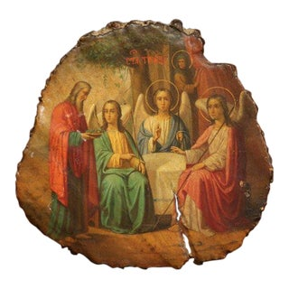 19th Century Russian Painted Icon With God Abraham and Three Angels 'Genesis 18' For Sale