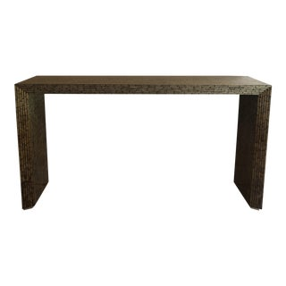 1970s Modern Faux Painted Bamboo Console Table For Sale