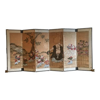 Japanese Edo Period Six Panel Screen: Hotei and Boys, early 19th century For Sale