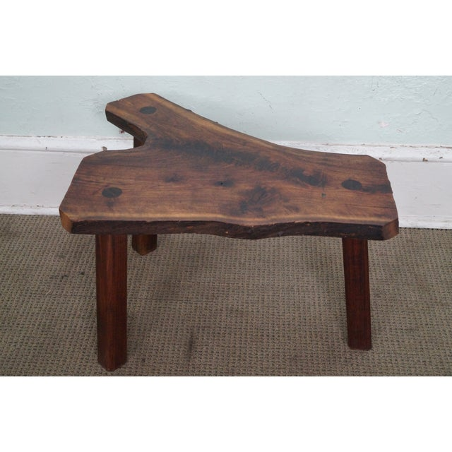 Vintage Walnut Free Form Slab Side Table - Image 4 of 10