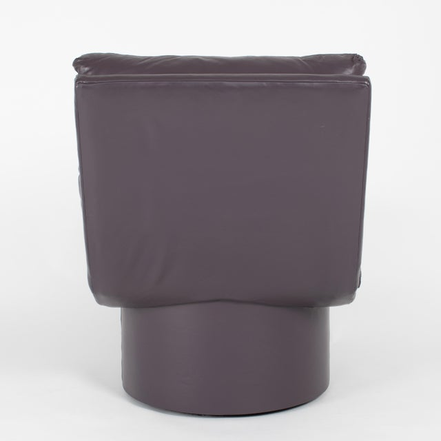 Eggplant Leather Scoop Chairs on Swivel Bases, Circa 1980s For Sale In New York - Image 6 of 13