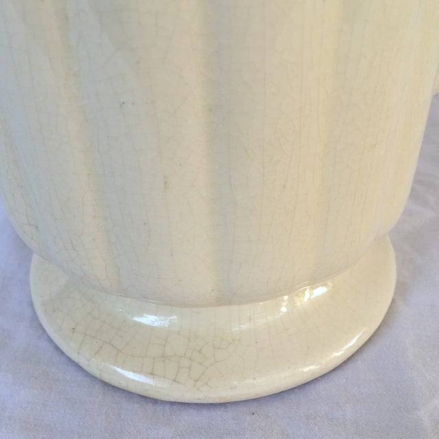 Art Deco Crackled Cream Ceramic Vase - Image 4 of 5