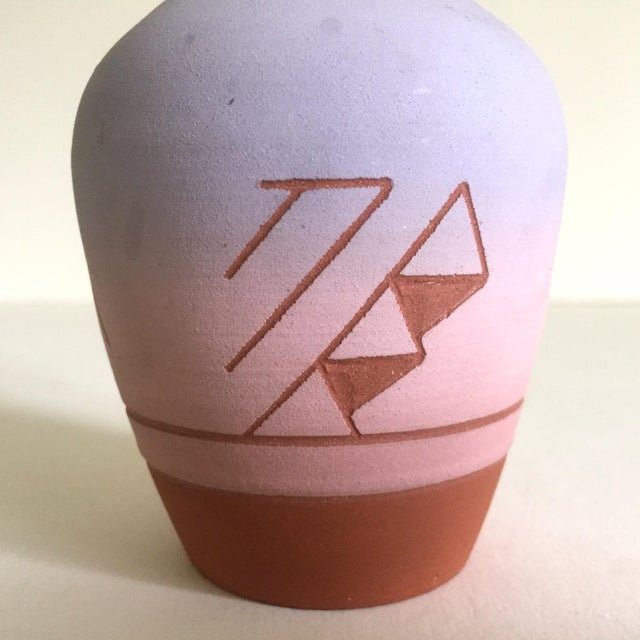 Vintage Native American Sioux Havel Marie Signed Pink Purple Ombre Terra Cotta Vase - Image 7 of 11