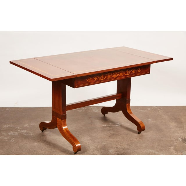 19th Century Danish Mahogany Empire Drop Leaf Table with Intarsia Inlay For Sale In Los Angeles - Image 6 of 9