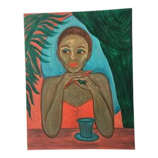 """Zee Caplan """"Pensive Pose"""" Acrylic Painting"""